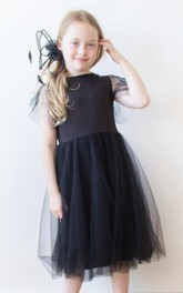 Illusion Short Sleeve Knee Length Tulle Little Girl Dress