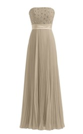Strapless Empire Long Pleated Dress With Rhinestones