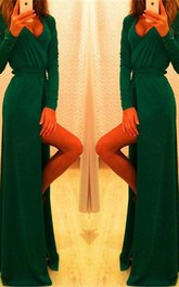 Elegant Long Sleeve Green Prom Dress 2018 Long Front Split Party Gowns