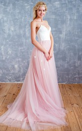 Spaghetti Tulle Floor-Length Backless Dress With Sweep Train