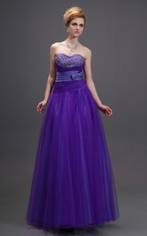 Shining Beaded Sweetheart Sleeveless Dress With Bow Andwaistbanded Waist