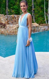 Newest Deep V-neck A-line Prom Dress Sleeveless Floor-length