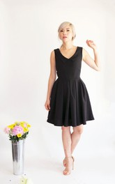 Short Black V Neck Satin Dress