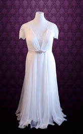 Queen Anne Button Back Chiffon Wedding Dress With Sash And Crystal Detailing