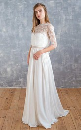 Jewel-Neck Illusion Half Sleeve Chiffon Wedding Dress With Appliques And Bow