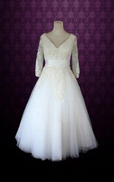 V-Neck Half Sleeve Low-V Back Tulle Wedding Dress With Sash And Appliques