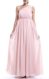 Empire One-shoulder Pink Chiffon Dress