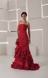 Strapless Column Tiered Dress with Flower and Ruched Bodice