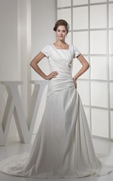 Square-Neck Caped-Sleeve A-Line Gown with Ruching and Bow