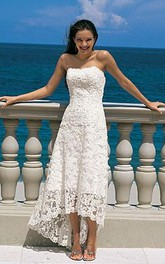 Gorgeous Sheath Column Strapless Asymmetry-length Lace Wedding Dresses