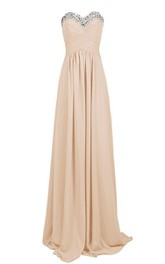 Sweetheart Empire Long Chiffon Dress With Sequins