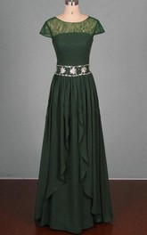 Maxi Chiffon&Lace&Satin Dress With Beading&Sequins