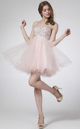 A-Line Mini Sweetheart Sleeveless Empire Tulle Dress With Beading