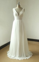 Ivory A Line Sexy Deep V Cut Chiffon Wedding With Open Back Dress