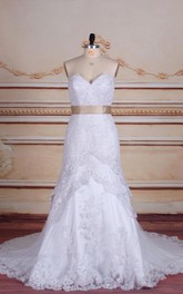 Mermaid Strapped Sweetheart Lace Satin Dress With Appliques Tiers