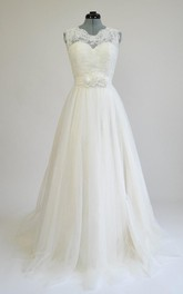 Tulle Satin Lace Low-V Back Wedding Dress
