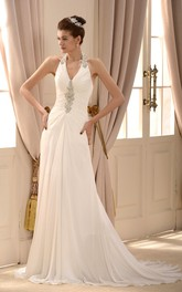 Elegant Chiffon A-line Halter Beading Floor Length Wedding Gown