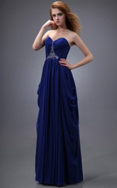 Draping Sweetheart Sleeveless Dress With Ruching And Crystal Detailing