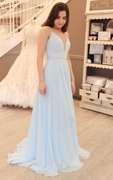 Princess Two Piece Tulle Long Prom Dress Evening Dress