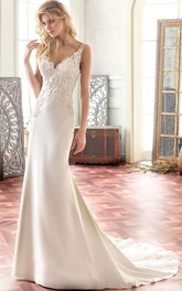 V-Neck Maxi Appliqued Chiffon Wedding Dress With Sweep Train And V Back