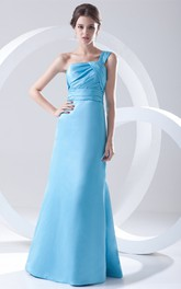 one-shoulder sheath floor-length dress with back tiers and ruching