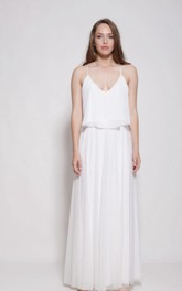 Chiffon Lace Weddig Dress With Embroideries