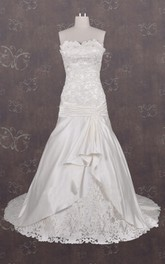 Strapped Dropped Lace Satin Weddig Dress With Appliques