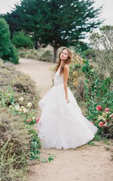 Multi Layered V-neck Tulle Wedding Dress With Ruffles