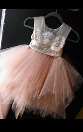 Tea-length Tulle&Lace Dress With Flower Beading Sash