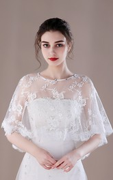 White Red Summer Thin Gauze Sunscreen Cloak Lace Shawl