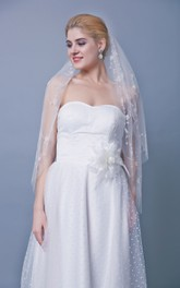 One Tier Beaded Mid Length Veil