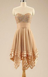 A-line Mini Sweetheart Tulle Dress With Beading
