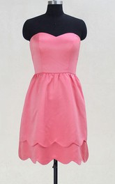 Short Sweetheart Pink Satin Dress