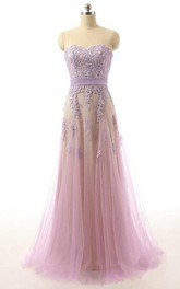 Sweetheart A-line Long Tulle Dress with Lace Appliques