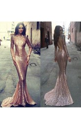Sequin Long Sleeve Evening Prom Dresses Gold Sequin prom dress