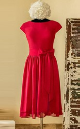Knee-length Scoop Cap Sleeve Chiffon&Satin Dress With Bow&Tiers&Zipper