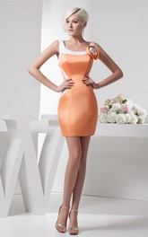 Strapped Satin Body-Fitting Gown with Flower
