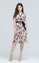 Printed Short Sleeve Surplice Neck Midi Dress with Sash