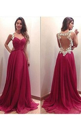 A-Line Princess Sleeveless Chiffon Ruched Sweep Brush Train Sweetheart Dresses