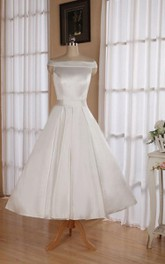Sleeveless Tea-Length Satin Wedding Dress With Sash And Off-The-Shoulder Neck