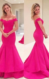 Off The Shoulder Mermaid Long Satin Dress With Low V Back