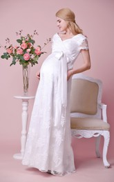 Allover Lace V-neck V-back Cap Sleeved Maternity Wedding Dress With Satin Bow