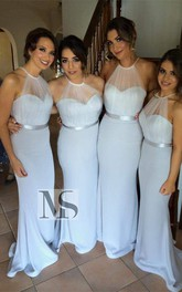 Sexy Halter Sleeveless Mermaid Bridesmaid Dress Sweep Train