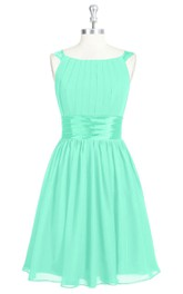 Pleated A-Line Chiffon Dress With Cinched Waistband and Square Neckline