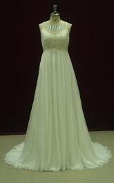 Empire Strapped Empire Chiffon Weddig Dress With Beading