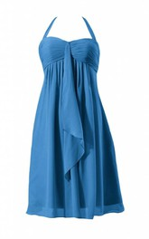 Sleeveless Halter Neck Knee-length Layered Chiffon Dress