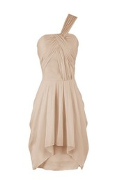 One-shoulder Mini Tiered Chiffon Dress With Pleats