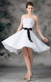 Strapless Chiffon Knee-Length Dress with Ruching and Ribbon