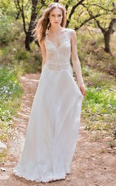 Plunged Cap-Sleeve Chiffon Sheath Wedding Dress With Lace