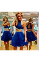 Beauty Sleeveless Halter Short Tulle Dress With Two Pieces